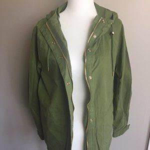 Forever 21 Womens Hooded Utility Jacket- Green NWT
